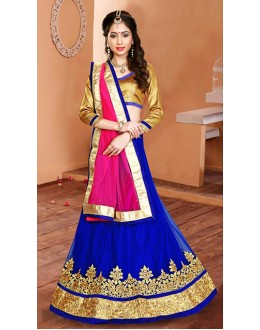 Designer Blue & Pink Net Embroidered Lehenga Choli - 75945