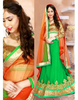Ethnic Wear Green & Orange Net Lehenga Choli - 75947