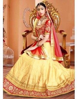 Traditional Beige & Red Silk Embroidery Lehenga Choli - 75949