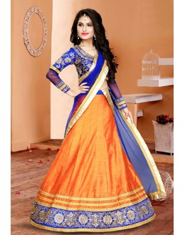 Ethnic Wear Orange & Blue Silk Lehenga Choli - 75950