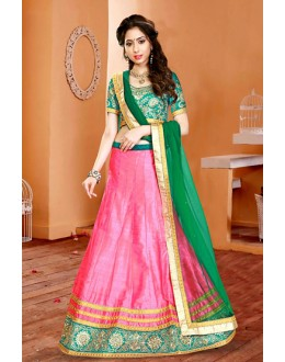 Festival Wear Pink & Green Silk Lehenga Choli - 75951