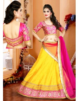 Traditional Yellow & Pink Silk Embroidery Lehenga Choli - 75952