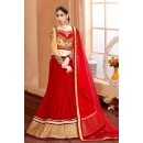 Wedding Wear Red & Beige Silk Lehenga Choli - 75953