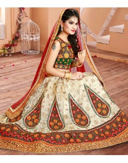 Wedding Wear Off White & Red Net Lehenga Choli - 75955