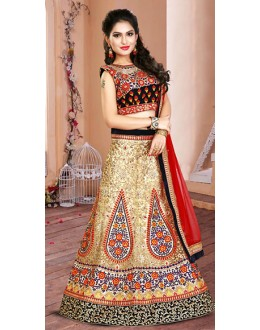 Bridal Wear Beige & Red Net Lehenga Choli - 75956