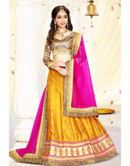 Festival Wear Yellow & Pink Silk Lehenga Choli - 75988
