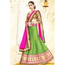 Ethnic Wear Green & Pink Silk Lehenga Choli - 75989