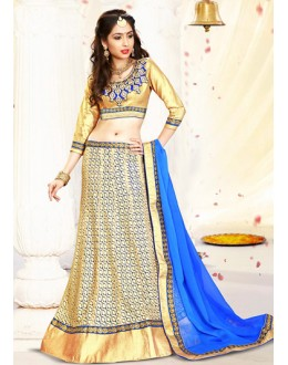 Ethnic Wear Beige & Blue Fancy Lehenga Choli - 75993