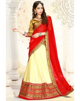 Traditional Beige & Red & Silk Lehenga Choli - 75994