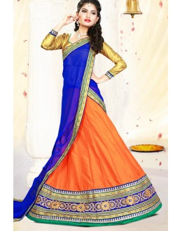 Traditional Orange & Blue Silk Lehenga Choli - 75995