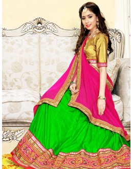 Wedding Wear Green & Pink Silk Lehenga Choli - 75996