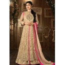 Moni Ray Brown Net Embroidered Anarkali Suit - 76027