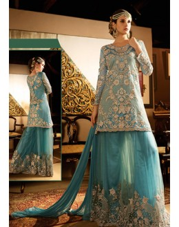 Ethnic Wear Blue Net Embroidered Palazzo Suit - 76293