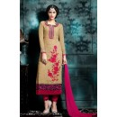 Office Wear Beige & Pink Georgette Salwar Suit - 76860