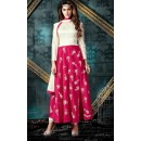 Party Wear Pink & Cream Silk Anarkali Suit - 76861