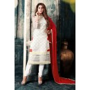 Office Wear Off White & Red Net Salwar Suit - 76877