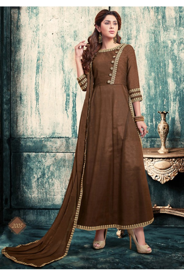 Ethnic Wear Brown Georgette Anarkali Suit - 76880