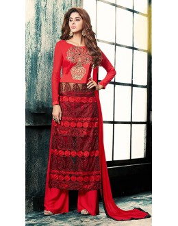 Festival Wear Red Georgette Palazzo Suit - 76881