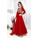 Ethnic Wear Red & Brown Silk Lehenga Suit - 76896