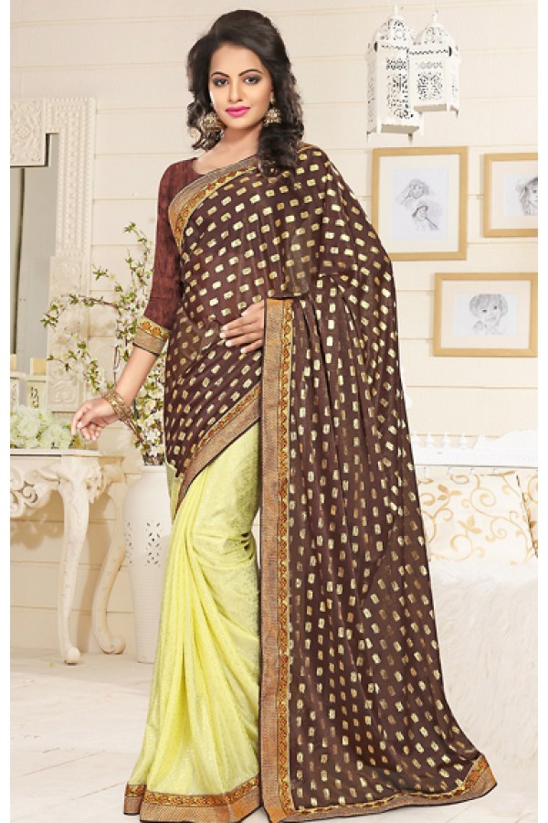 Ethnic Wear Brown & Yellow Lycra Saree  - 76907