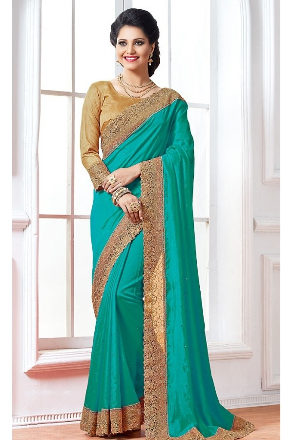 Party Wear Turquoise & Brown Crepe Silk Saree  - 76922