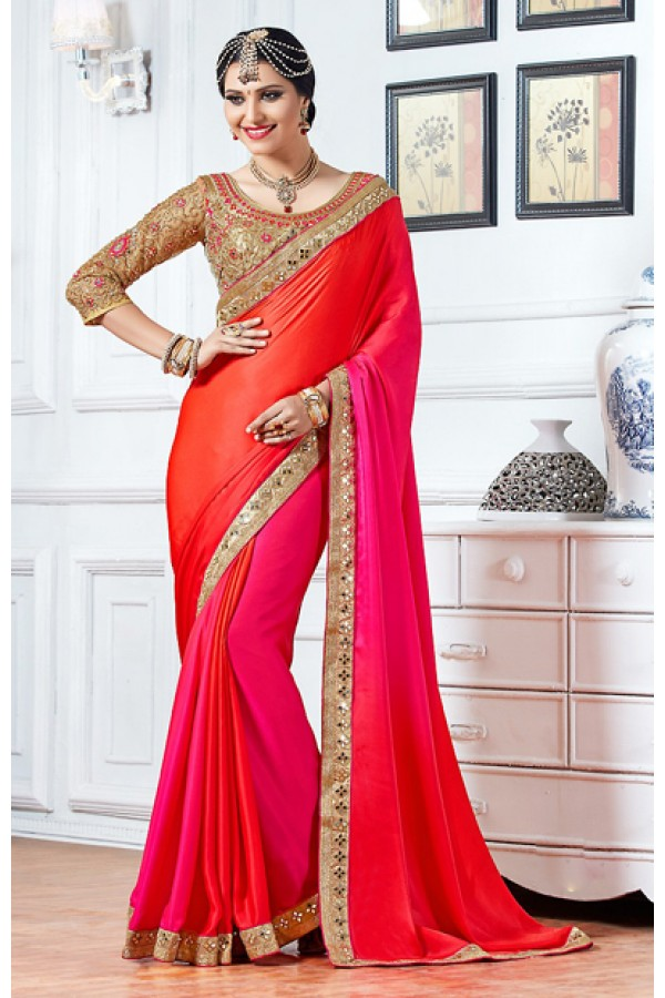 Party Wear Red Crepe Silk Embroidery Saree  - 76929