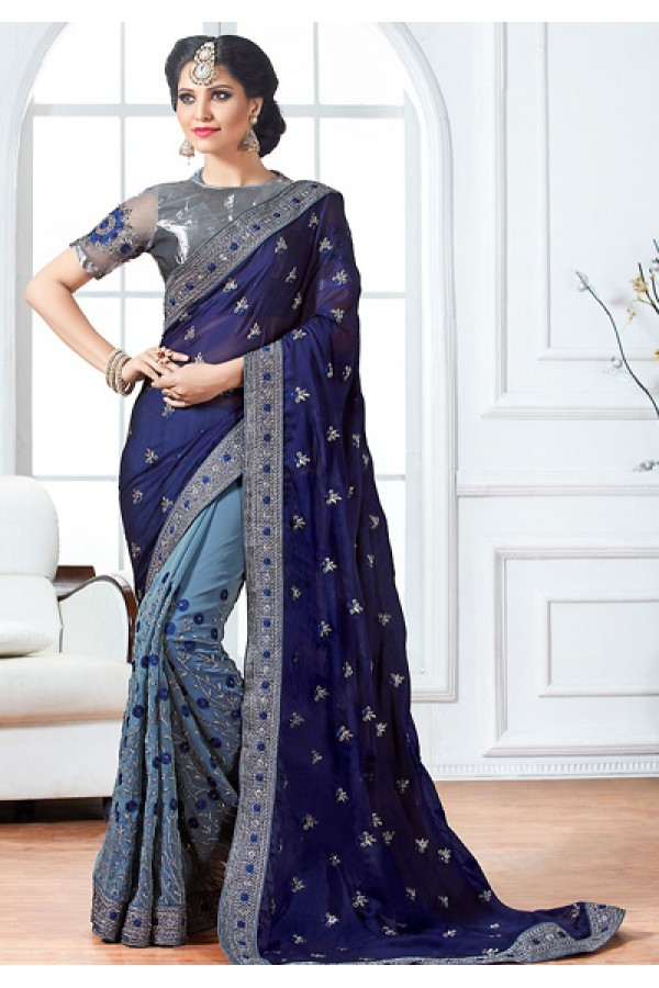 Festival Wear Blue & Grey Chiffon Embroidery Saree  - 76931