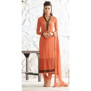 Ethnic Wear Orange Georgette Salwar Suit  - 77021