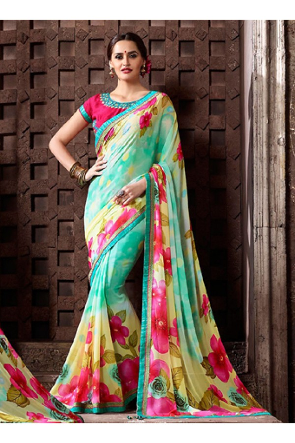 Festival Wear Turquoise & Pink Georgette Saree  - 77113