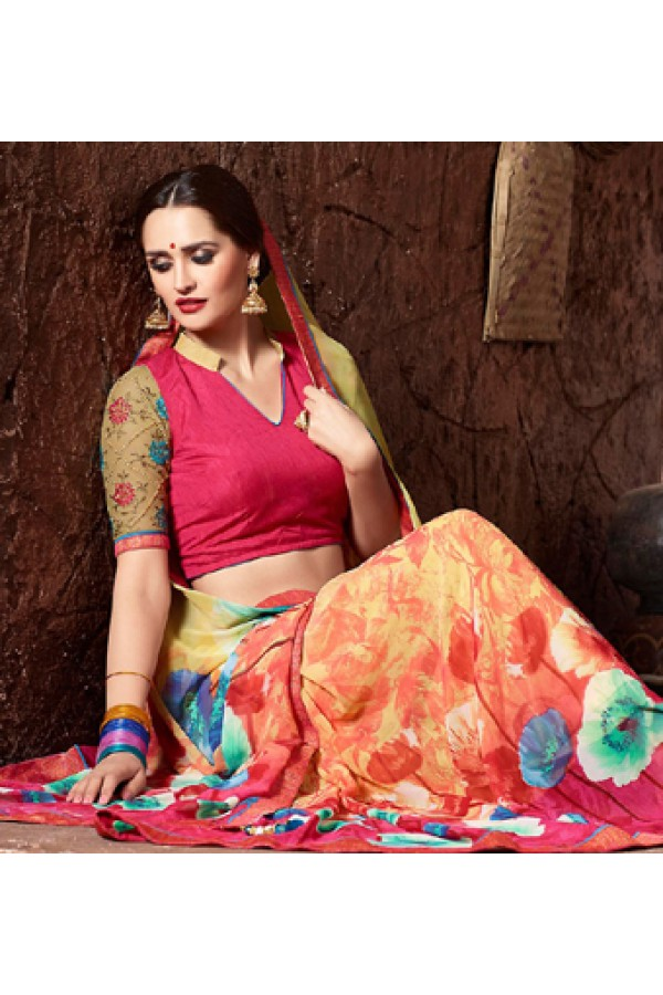 Casual Wear Multicolour Georgette Saree  - 77117