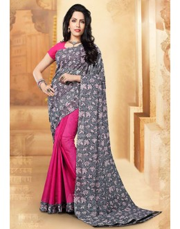 Party Wear Grey & Pink Cotton Saree  - 77697