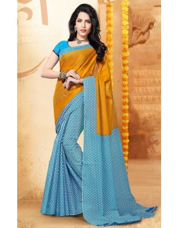 Casual Wear Yellow & Blue Cotton Saree  - 77698