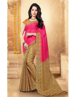 Festival Wear Pink & Yellow Cotton Saree  - 77699