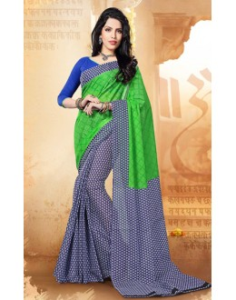 Ethnic Wear Green & Blue Cotton Silk Saree  - 77700