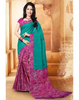Festival Wear Green & Pink Cotton Saree  - 77701