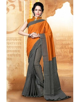 Casual Wear Orange & Black Cotton Saree  - 77702