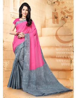 Festival Wear Pink & Grey Cotton Saree  - 77703