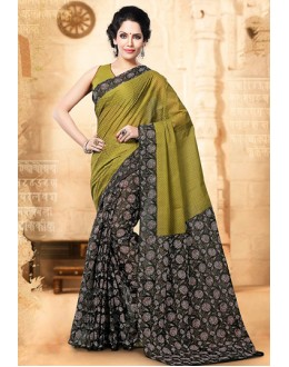 Ethnic Wear Green & Black Cotton Saree  - 77704