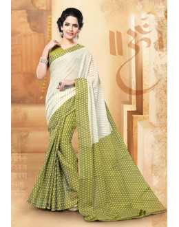 Casual Wear Off White & Green Cotton Saree  - 77705
