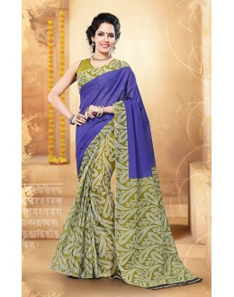Ethnic Wear Blue & Green Cotton Saree  - 77707
