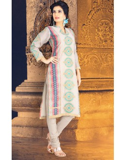 Office Wear Readymade Off White Chanderi Silk Salwar Suit - 78094