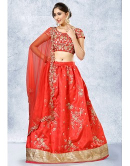 Ethnic Wear Red Satin Embroidery Lehenga Choli - 78219