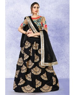 Traditional Black Silk Lehenga Choli - 78220