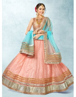 Ethnic Wear Pink Net Lehenga Choli - 78221
