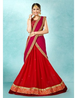 Traditional Red Georgette Lehenga Choli - 78224