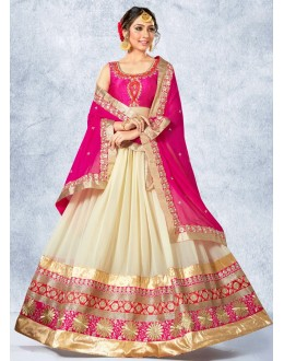 Festival Wear Cream & Pink Georgette Lehenga Choli - 78225