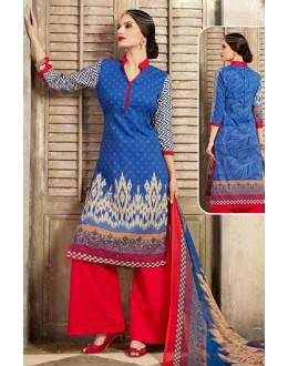 Festival Wear Blue & Red Cotton Palazzo Suit  - 78257