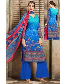 Casual Wear Blue Cotton Palazzo Suit  - 78259