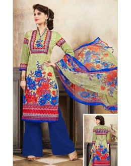 Festival Wear Green & Blue Cotton Palazzo Suit  - 78261