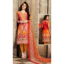 Festival Wear Pink & Yellow Cotton Salwar Suit  - 78262
